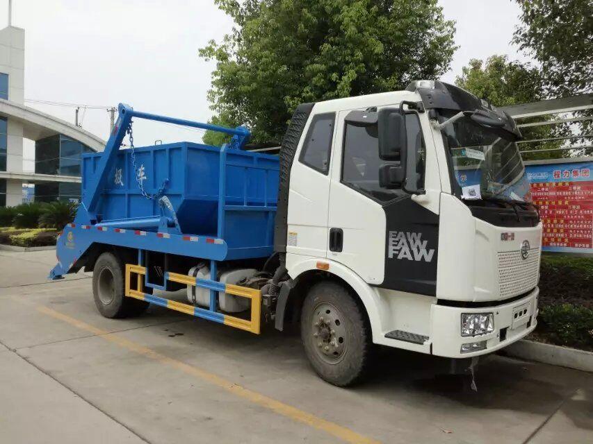 一汽解放10方摆臂式垃圾车图片
