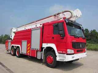 光通举高喷射消防车图片