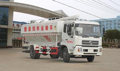 东风天锦平顶带卧散装饲料运输车