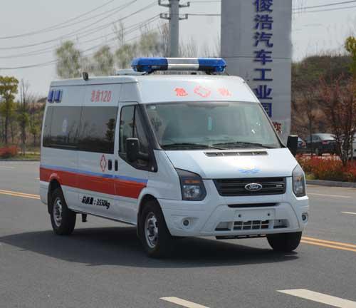 福特新全顺V362中轴中顶汽油救护车