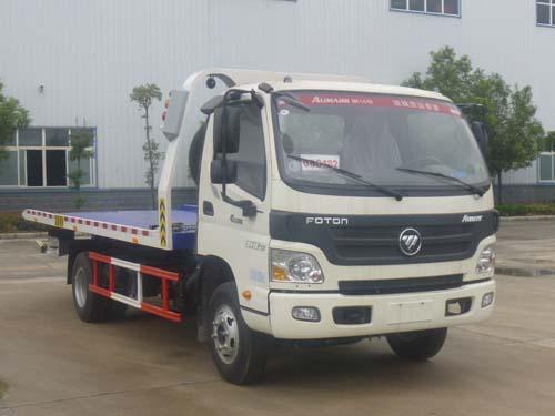 福田欧马可3吨平板一拖二清障车市场多少钱一台