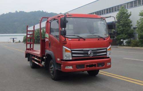 东风蓝牌平板运输车/东风能拉7吨挖机平板车/小勾机平板拖车