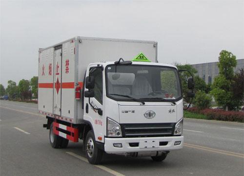 解放易燃气体厢式运输车(4.1米黄牌)