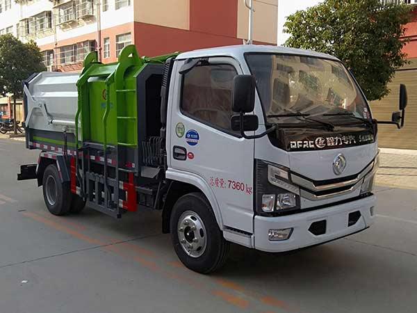 国六东风D6多利卡侧装挂桶压缩垃圾车