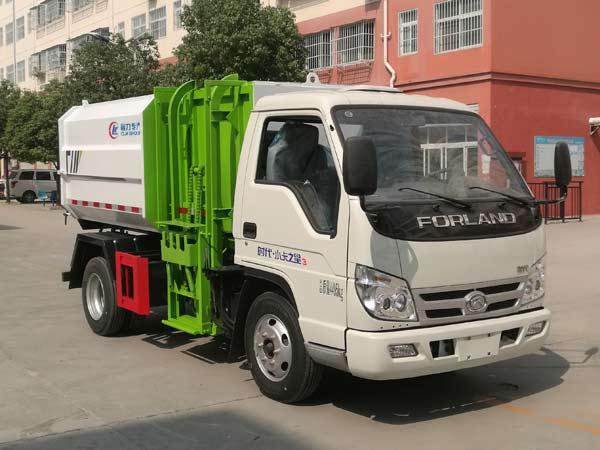 福田小卡4方挂桶垃圾车